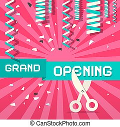 Retro Grand Opening Vector Illustration with Confetti and Scissors on Pink Background