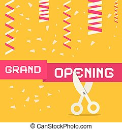 Retro Grand Opening Vector Illustration with Confetti and Scissors on Yellow Background