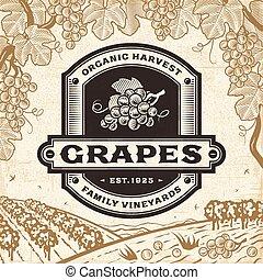 Retro grapes label on harvest landscape