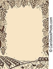 Retro grapes vertical brown frame