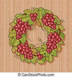 Retro grapes wreath