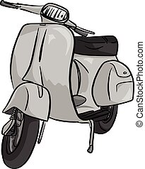 retro gray motorcycle vector illustration sketch doodle hand drawn with black lines isolated on white background