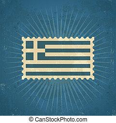 Retro Greece Flag Postage Stamp