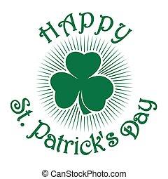 Retro green clover icon. Shamrock clover. Trefoil. Green leaf clover. St. Patricks Day celebration symbol
