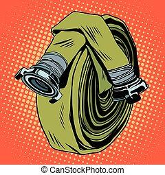 Retro green fire hose pop art vector. The fight against...