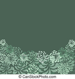 Retro green floral vector pattern - illustration