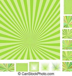 Retro green ray burst background set - Retro green vector...