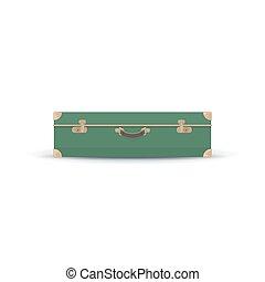 Retro Green Suitcase Isolated on White