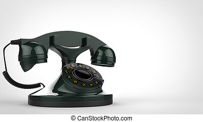 Retro green vintage telephone - 3D Illustration