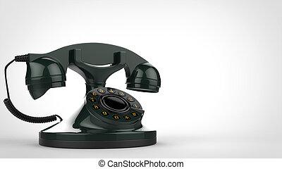 Retro green vintage telephone - 3D Illustration
