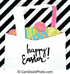 Retro greeting card. Basket with Easter eggs. Easter pop-art style postcard.