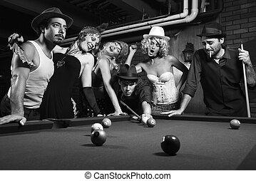 retro, groep, spelend, pool.