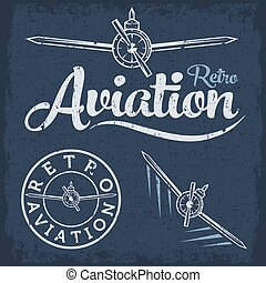 retro grunge aviation label