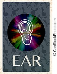 Retro grunge background with ear