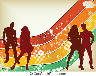 Retro Grunge Background with two couples silhouettes.
