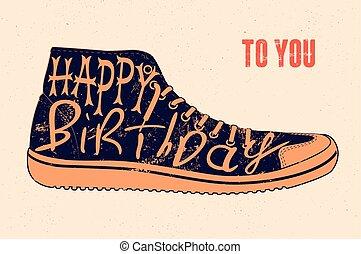 Happy Birthday! Typographical retro grunge Birthday Card. Vector illustration.