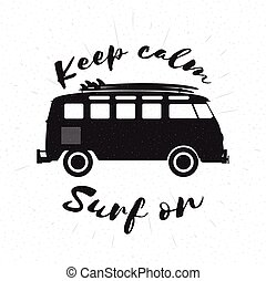 Retro grunge black and white bus with surfboards.