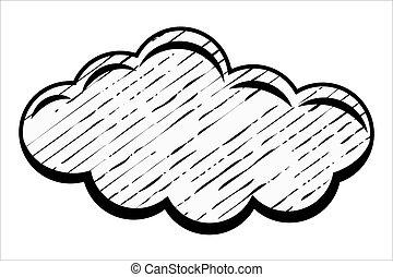 retro, grunge, chmura
