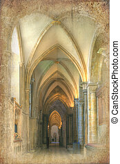 Retro grunge effect applied to image on cathedral interior
