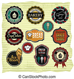 Retro grunge food labels, badges