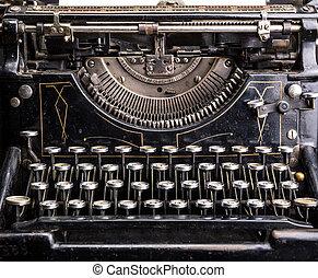 retro, grunge, nero, macchina scrivere, closeup