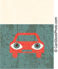 Retro grunge poster. Car
