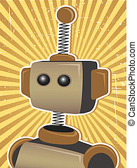 Retro Grunge Robot Protrait Propaga