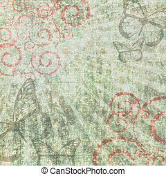 Retro grunge scrapbook background with butterflies and ...