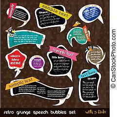 Retro grunge speech bubbles collection