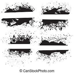 Retro Grunge Splash Banners - Drawing Art of Grunge Banners...