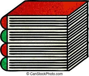 retro grunge texture cartoon stack of books