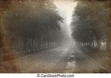 retro, grunge, vindima, efeito, foto, de, árvore forrou, avenida, com, nebuloso, e, nebuloso, distância
