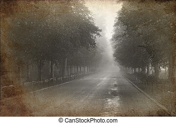 Retro grunge vintage effect photo of Tree lined avenue with...