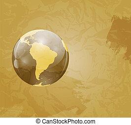 Retro Grunge World Map Vector Illustration