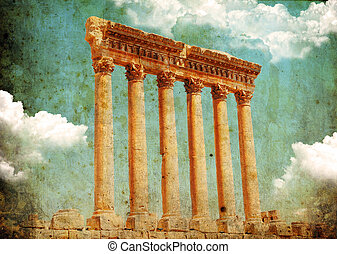 Retro grungy style photo. Jupiter's temple, Baalbek, Lebanon...