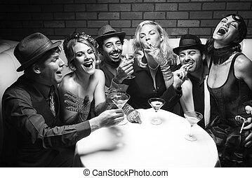 retro, grupa, na, nightclub.