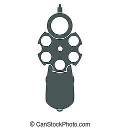 Retro gun front view - Retro pistol silhouette front view as...