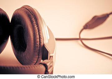 retro, hörlurar, bakgrunder