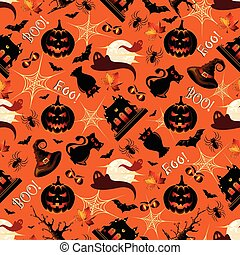 Retro Halloween Background Seamless Pattern