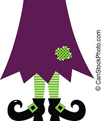 Retro Halloween witch legs isolated on white ( green and purple