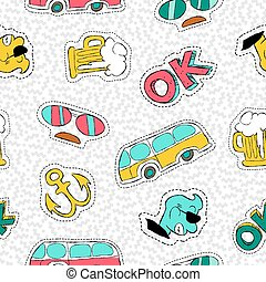 Retro hand drawn patch icon seamless pattern