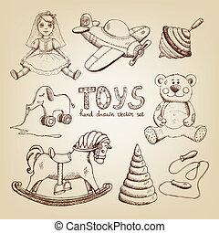retro hand drawn toys: doll airplane whirligig teddy bear