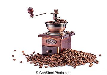 retro, handbuch, kaffeemühle, auf, gebraten, kaffeebohnen,...