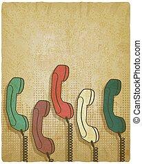 retro handset on vintage background. vector illustration -...