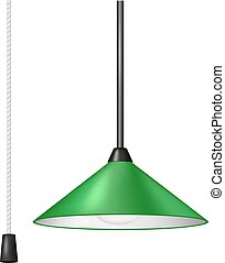 Retro hanging lamp in green design with black and white cord switch