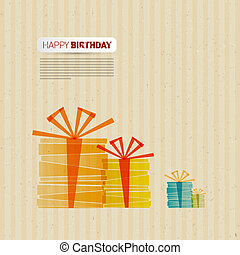 Retro Happy Birthday Theme, Present Boxes on Recycled Paper,...