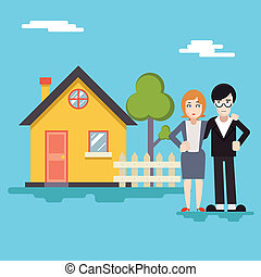 Retro Happy Family with House Real Estate Modern Flat Design Concept Template Vector Illustration