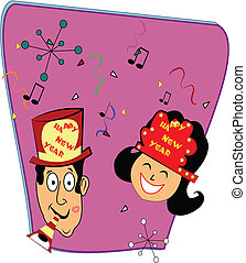 retro happy new years - couple celebrating new years with a...