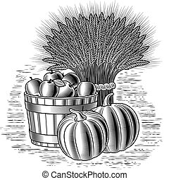 Retro harvest still life in woodcut style. Black and white vector illustration with clipping mask.