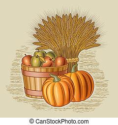 Retro harvest still life in woodcut style. Vector...